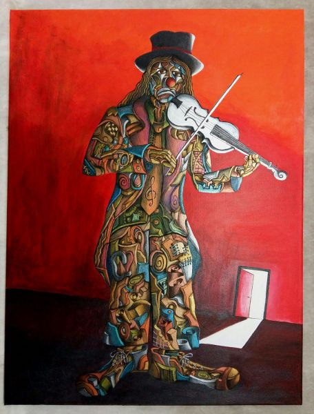 Tela di Giulio Bovio - Clown Violinista